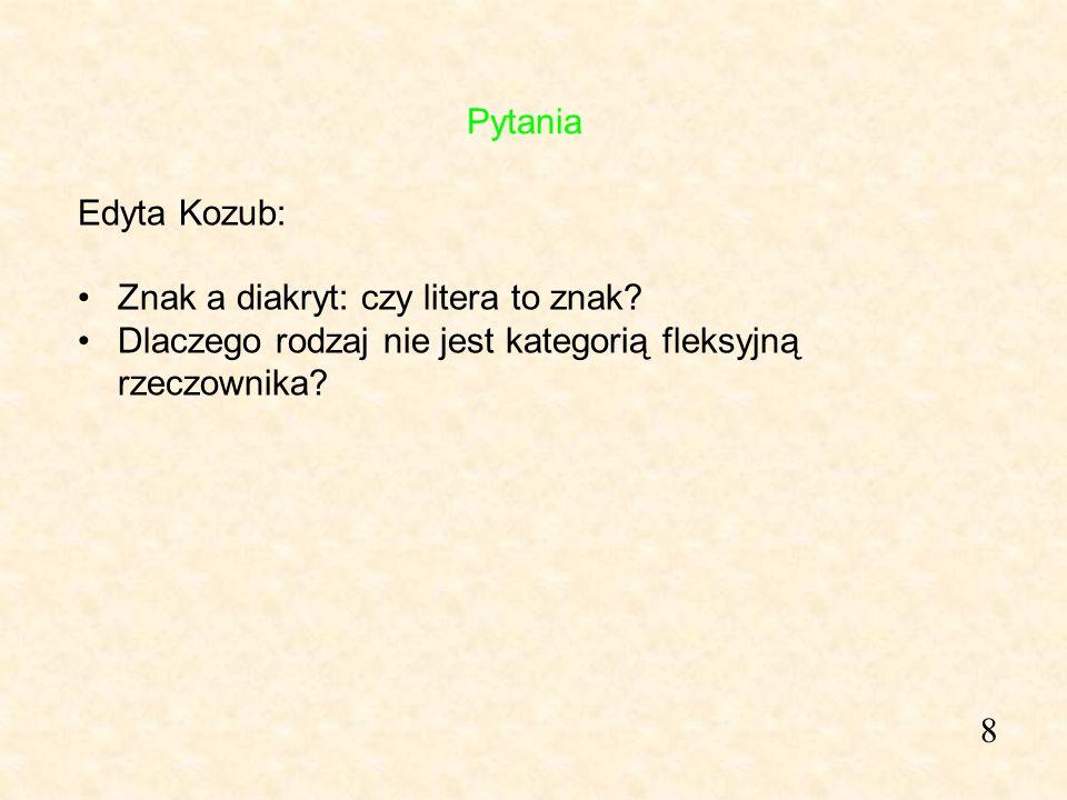 Pytania Edyta Kozub: Znak a diakryt: czy litera to znak Dlaczego rodzaj nie jest kategorią fleksyjną rzeczownika