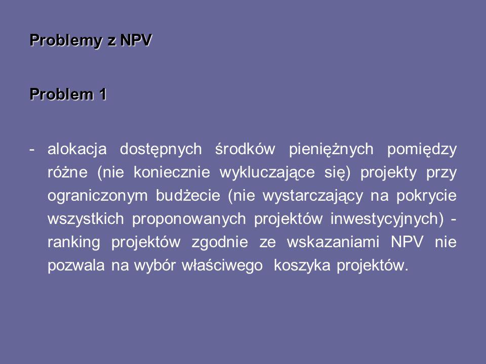 Problemy z NPV Problem 1.