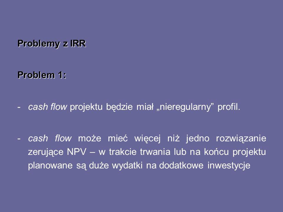 """Problemy z IRR Problem 1: cash flow projektu będzie miał """"nieregularny profil."""