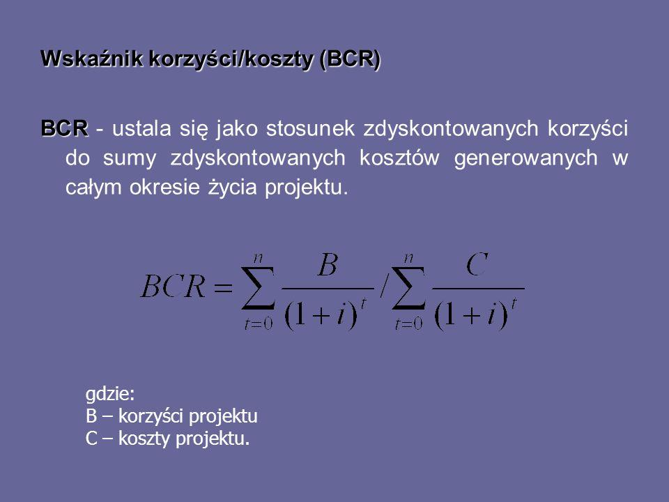 Wskaźnik korzyści/koszty (BCR)