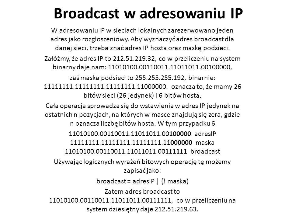 Broadcast w adresowaniu IP