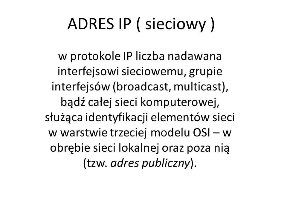 ADRES IP ( sieciowy )