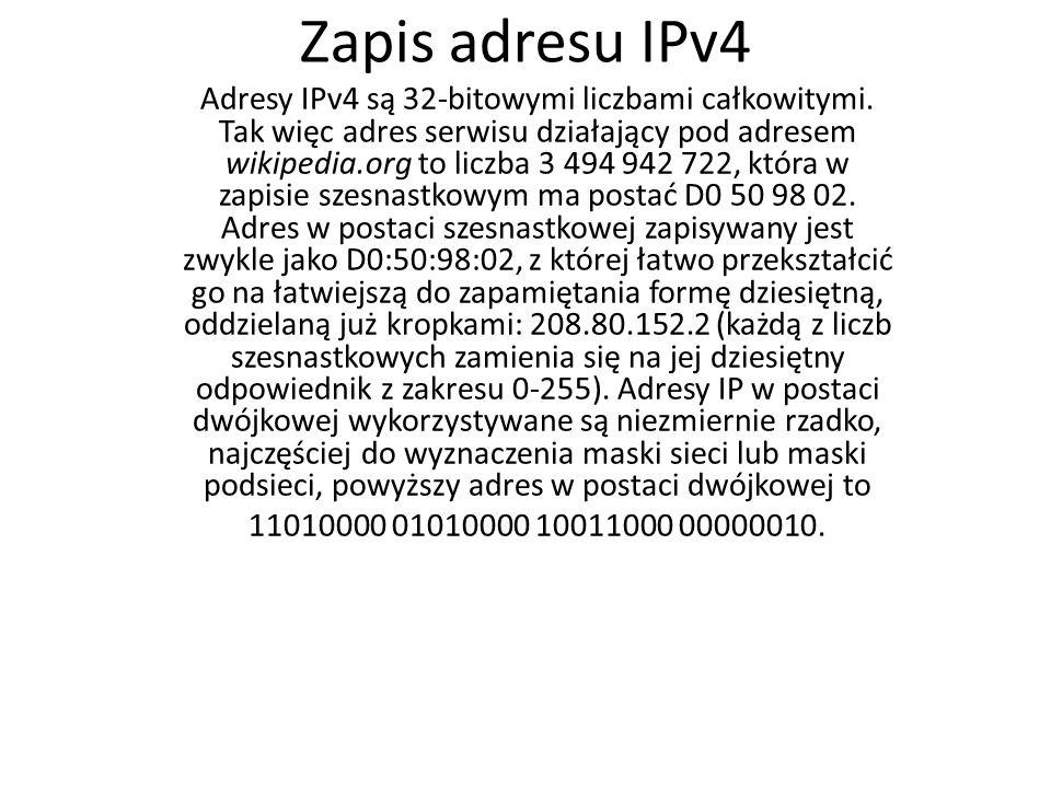 Zapis adresu IPv4
