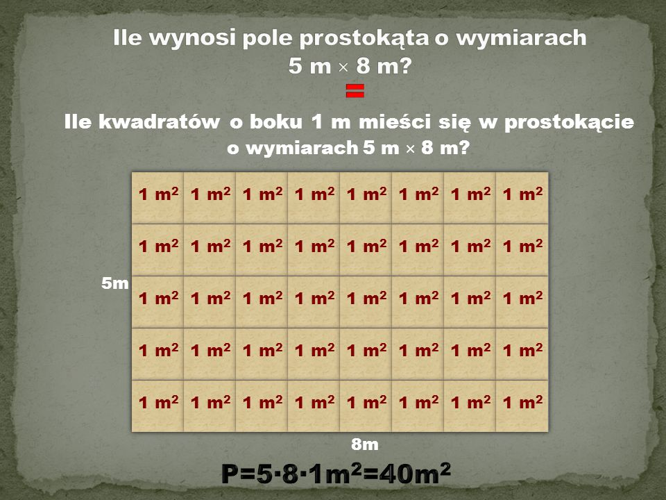 Ile wynosi pole prostokąta o wymiarach 5 m × 8 m