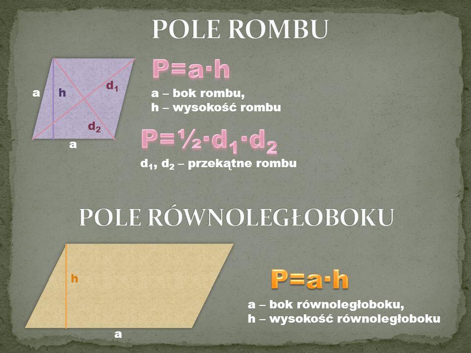 POLE ROMBU P=a∙h P=½∙d1∙d2 P=a∙h POLE RÓWNOLEGŁOBOKU a h d1