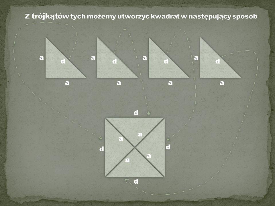Z trójkątów tych możemy utworzyć kwadrat w następujący sposób