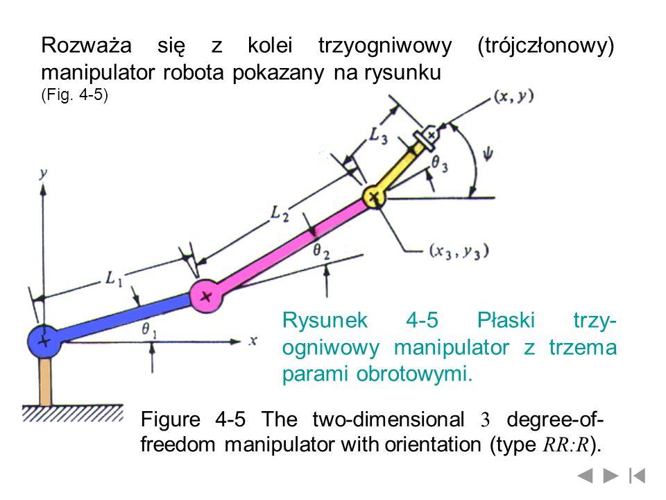 Rozważa się z kolei trzyogniwowy (trójczłonowy) manipulator robota pokazany na rysunku