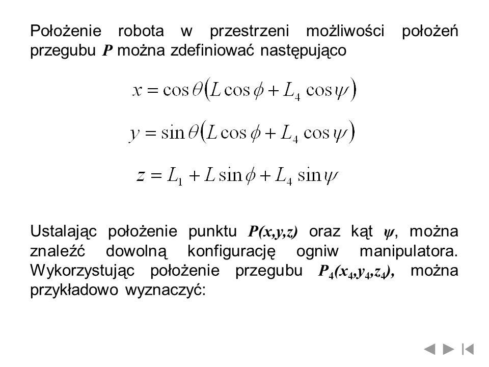 Położenie robota w przestrzeni możliwości położeń przegubu P można zdefiniować następująco