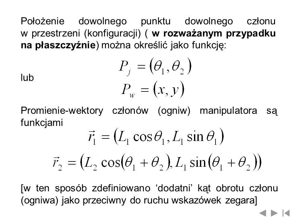 Położenie dowolnego punktu dowolnego członu w przestrzeni (konfiguracji) ( w rozważanym przypadku na płaszczyźnie) można określić jako funkcję:
