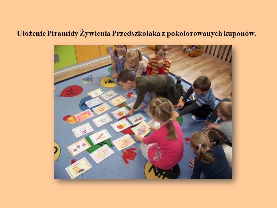 Ułożenie Piramidy Żywienia Przedszkolaka z pokolorowanych kuponów.