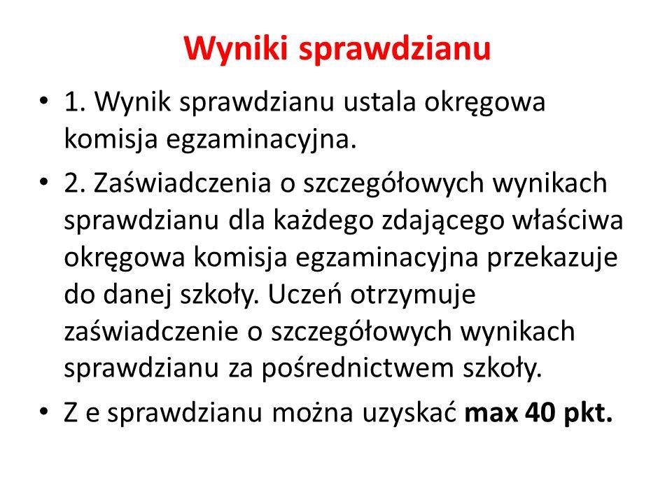 Wyniki sprawdzianu 1. Wynik sprawdzianu ustala okręgowa komisja egzaminacyjna.