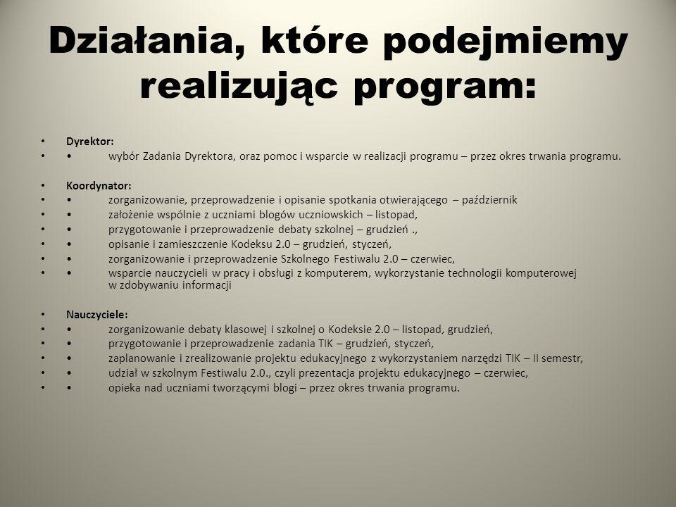 Działania, które podejmiemy realizując program: