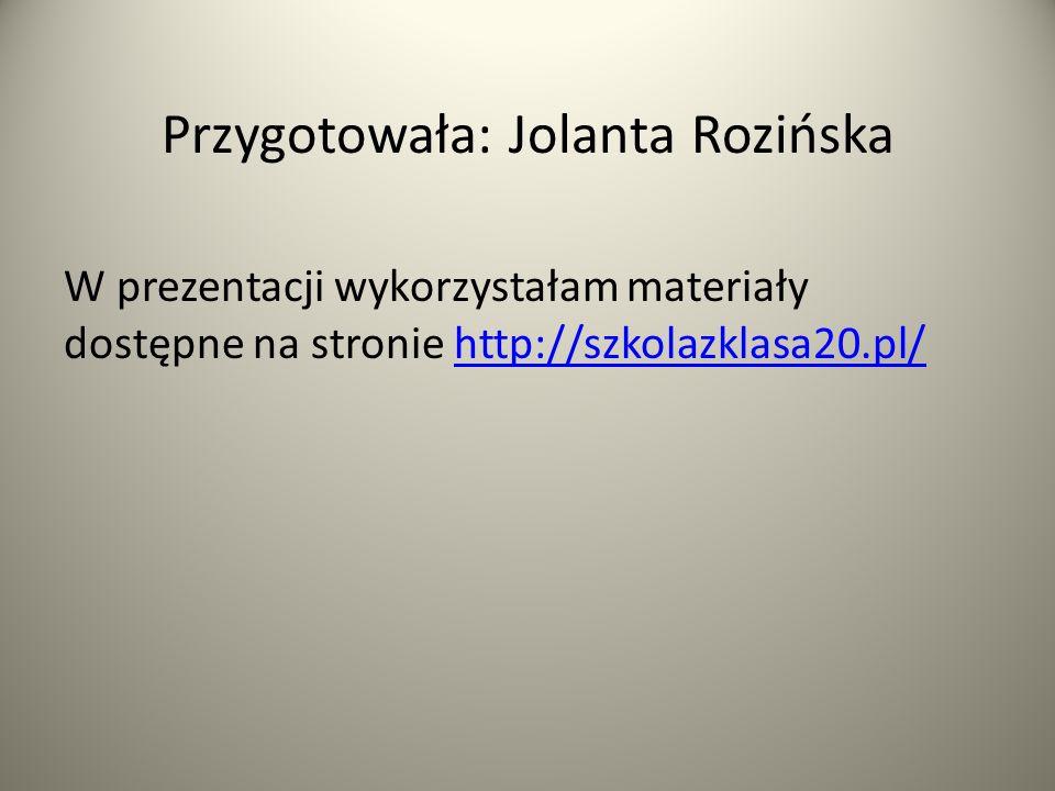 Przygotowała: Jolanta Rozińska