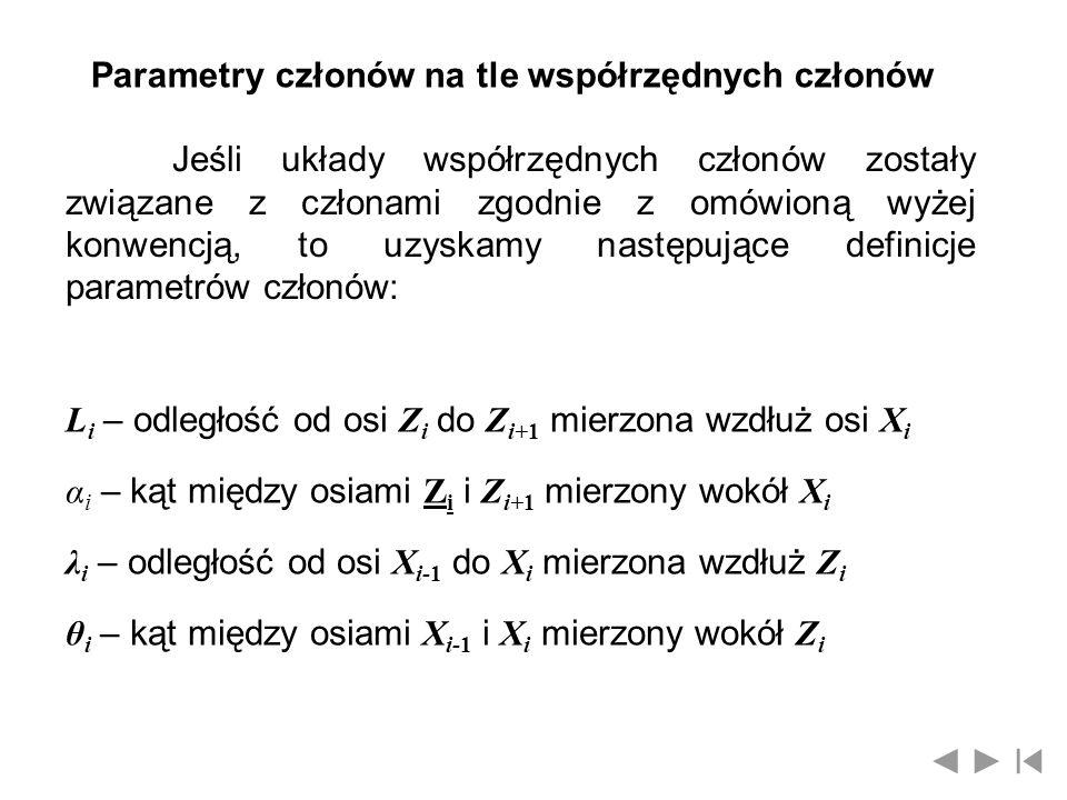 Parametry członów na tle współrzędnych członów
