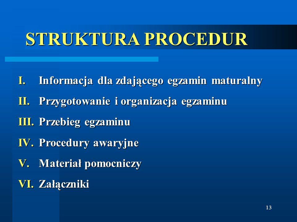 STRUKTURA PROCEDUR Informacja dla zdającego egzamin maturalny