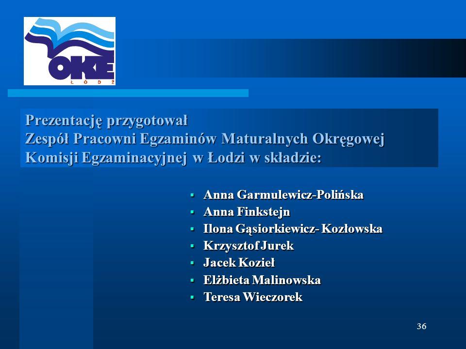 Prezentację przygotował Zespół Pracowni Egzaminów Maturalnych Okręgowej Komisji Egzaminacyjnej w Łodzi w składzie: