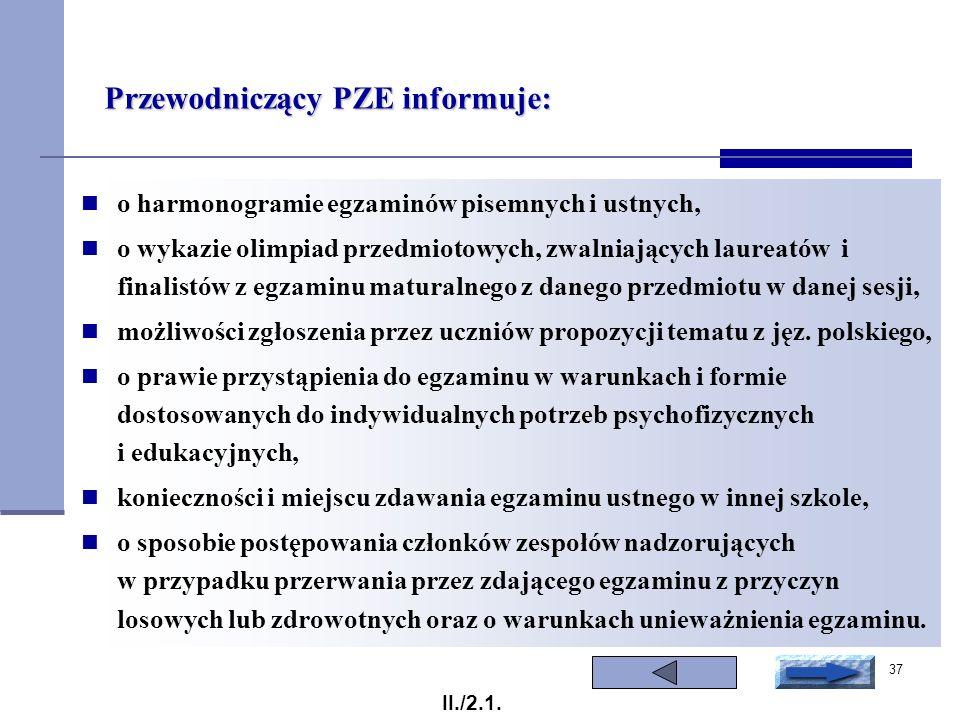 Przewodniczący PZE informuje: