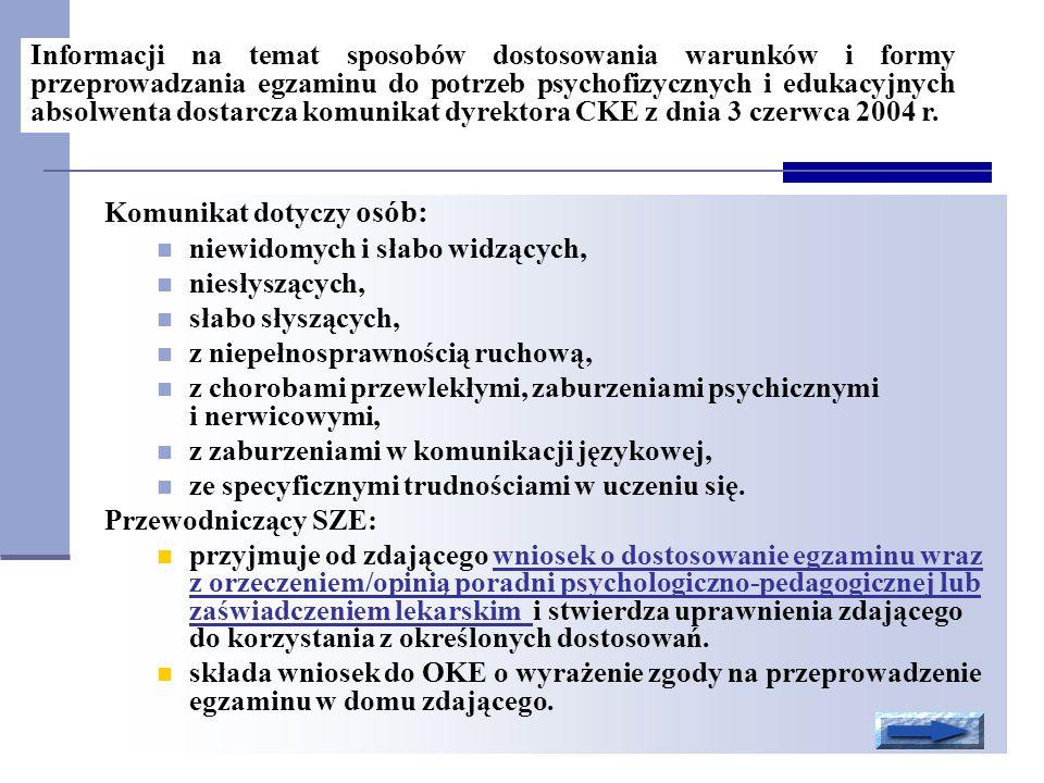 Informacji na temat sposobów dostosowania warunków i formy przeprowadzania egzaminu do potrzeb psychofizycznych i edukacyjnych absolwenta dostarcza komunikat dyrektora CKE z dnia 3 czerwca 2004 r.