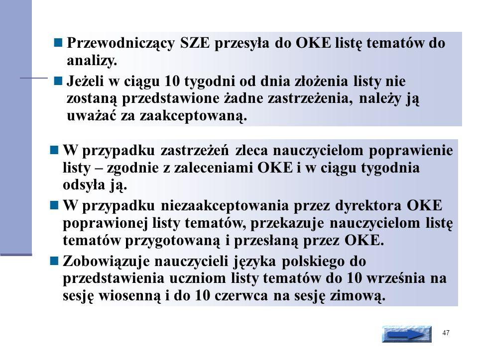 Przewodniczący SZE przesyła do OKE listę tematów do analizy.