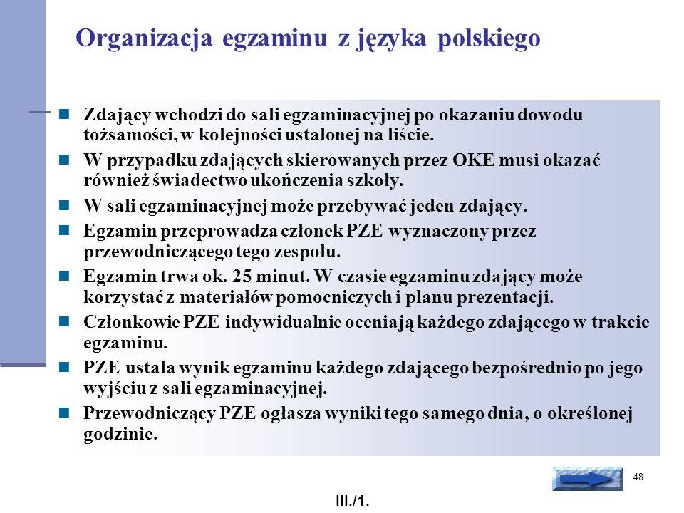 Organizacja egzaminu z języka polskiego