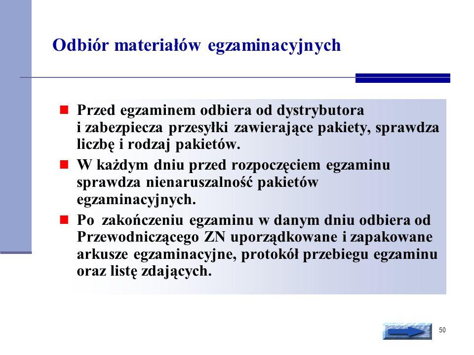 Odbiór materiałów egzaminacyjnych