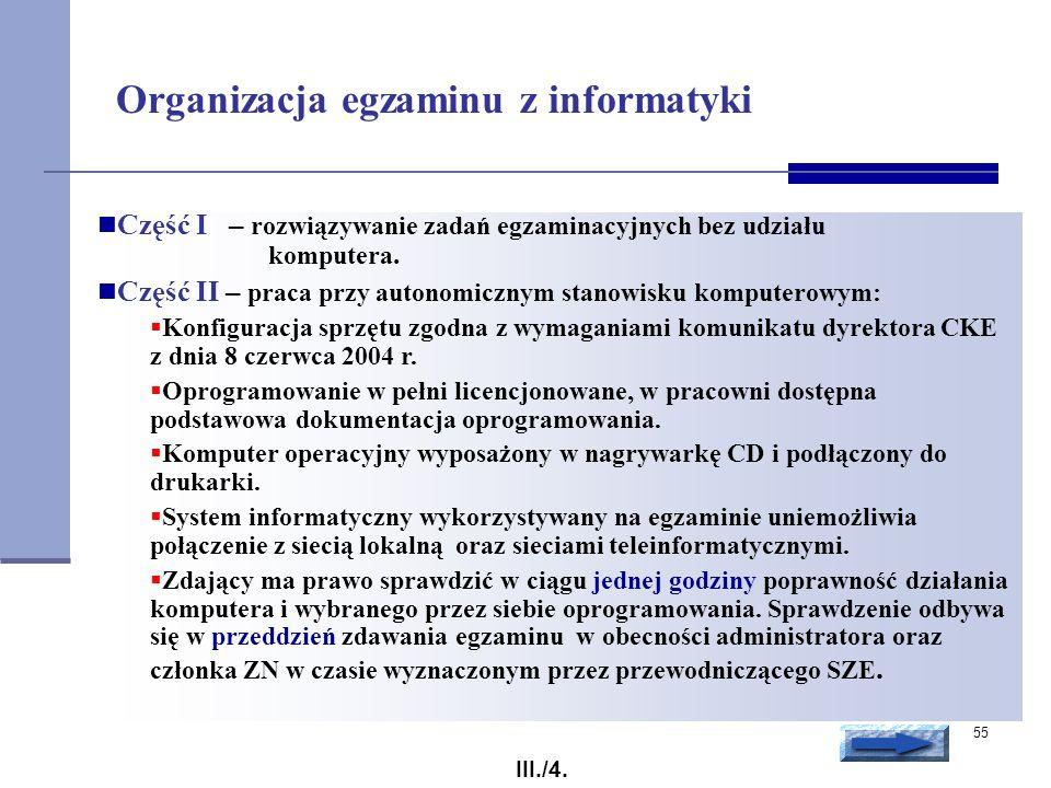 Organizacja egzaminu z informatyki