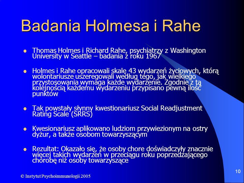 Badania Holmesa i Rahe Thomas Holmes i Richard Rahe, psychiatrzy z Washington University w Seattle – badania z roku 1967.