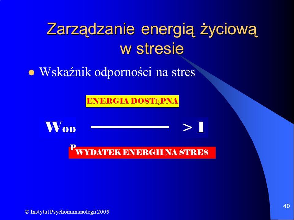 Zarządzanie energią życiową w stresie