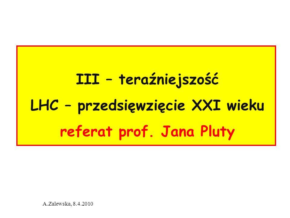 LHC – przedsięwzięcie XXI wieku referat prof. Jana Pluty
