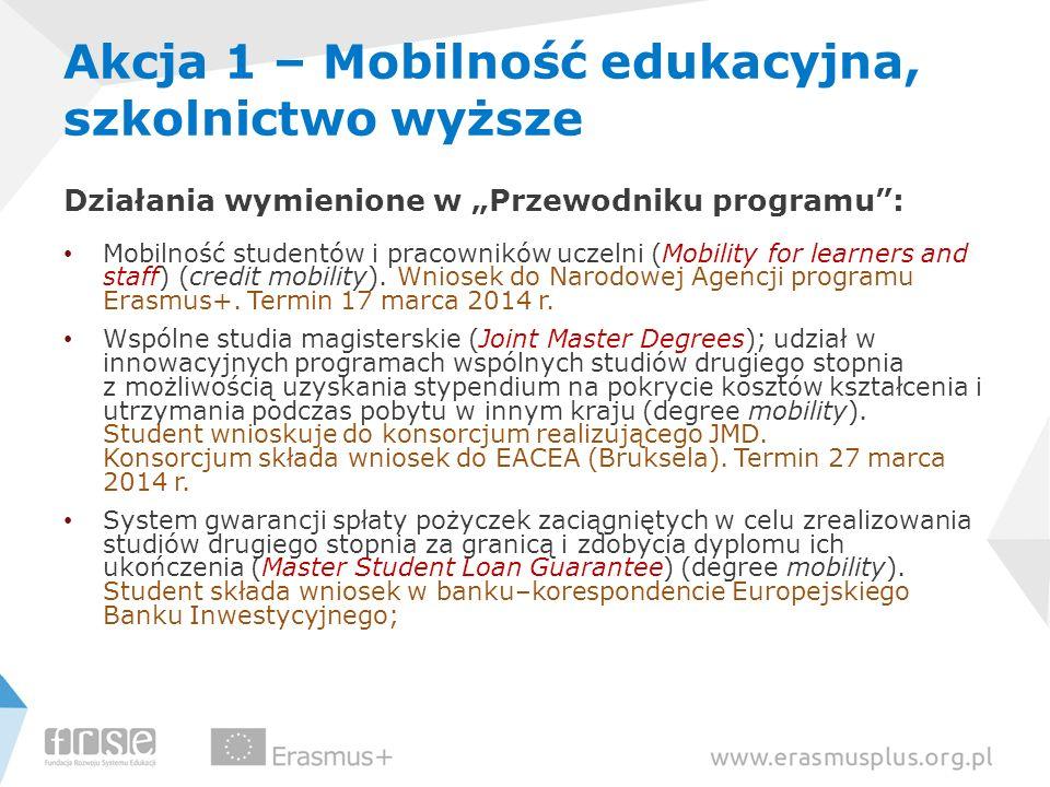 Akcja 1 – Mobilność edukacyjna, szkolnictwo wyższe