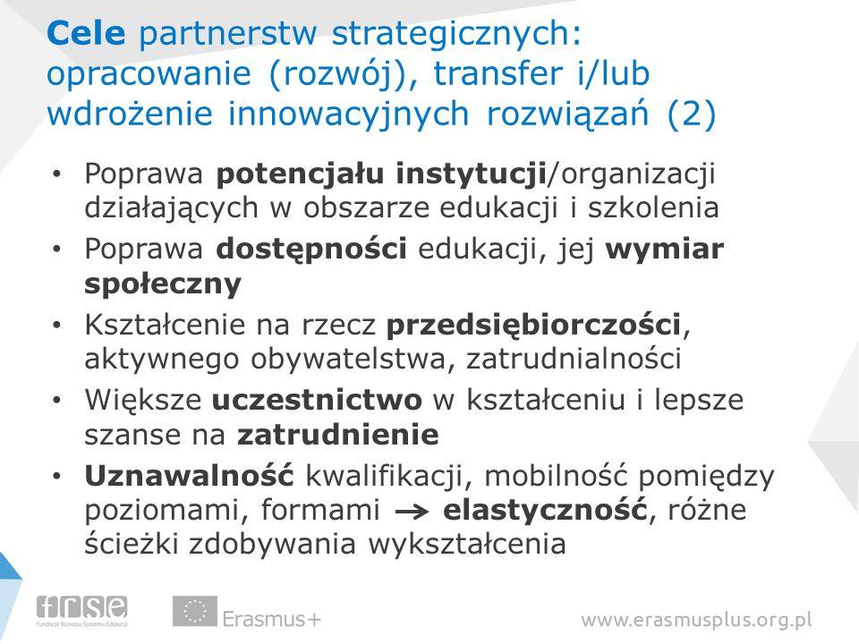 Cele partnerstw strategicznych: opracowanie (rozwój), transfer i/lub wdrożenie innowacyjnych rozwiązań (2)