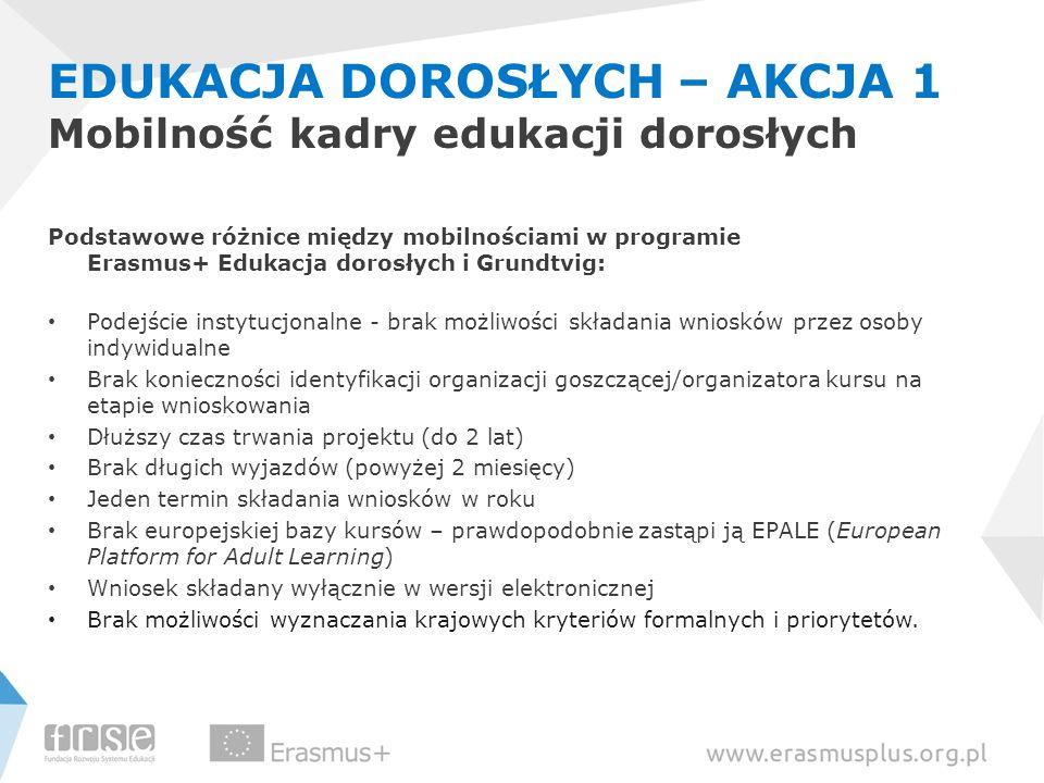EDUKACJA DOROSŁYCH – AKCJA 1 Mobilność kadry edukacji dorosłych