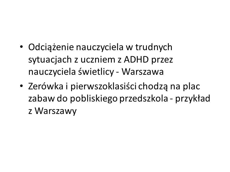 Odciążenie nauczyciela w trudnych sytuacjach z uczniem z ADHD przez nauczyciela świetlicy - Warszawa