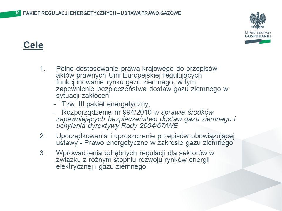 10 PAKIET REGULACJI ENERGETYCZNYCH – USTAWA PRAWO GAZOWE. Cele.