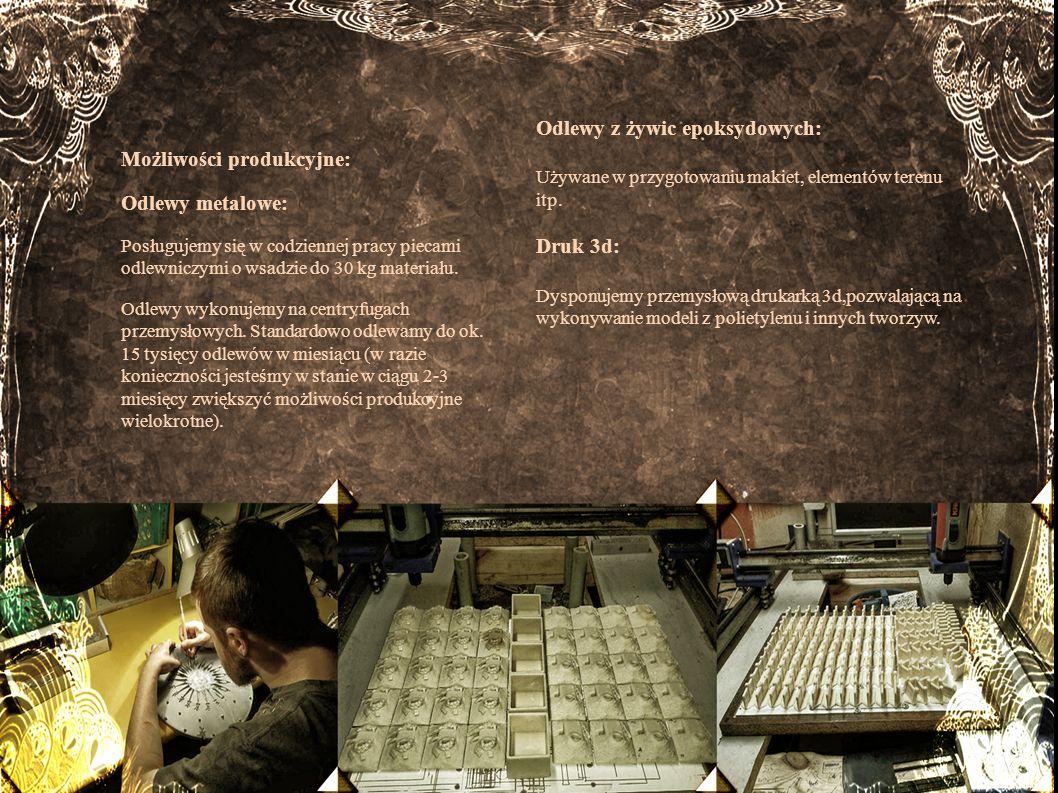 Możliwości produkcyjne: Odlewy metalowe: Odlewy z żywic epoksydowych: