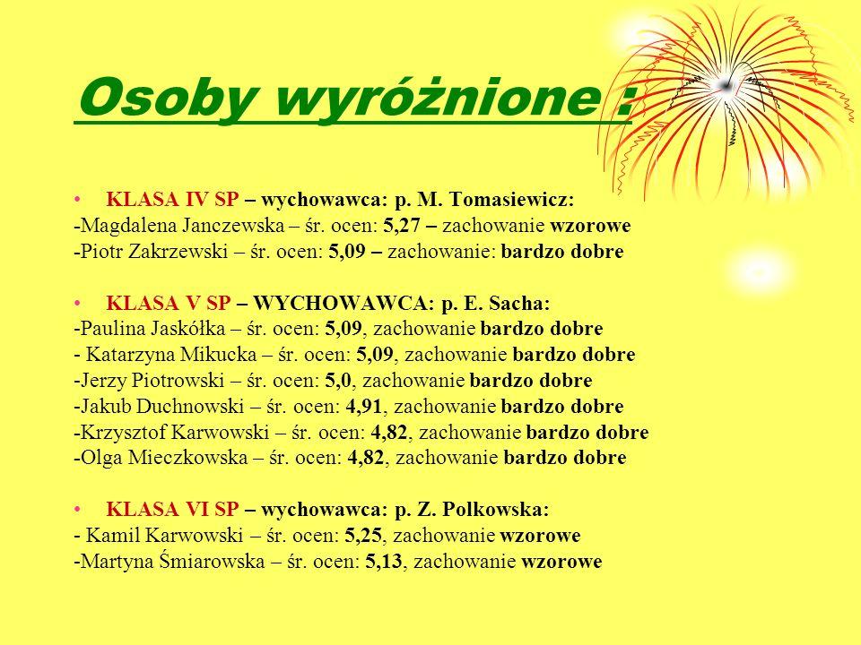 Osoby wyróżnione : KLASA IV SP – wychowawca: p. M. Tomasiewicz: