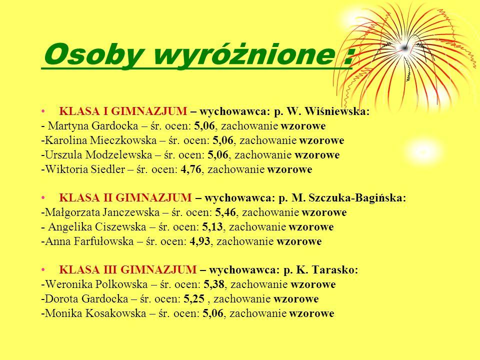 Osoby wyróżnione : KLASA I GIMNAZJUM – wychowawca: p. W. Wiśniewska: