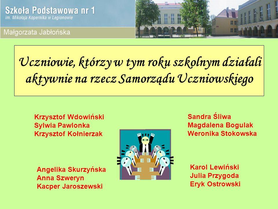 Uczniowie, którzy w tym roku szkolnym działali aktywnie na rzecz Samorządu Uczniowskiego