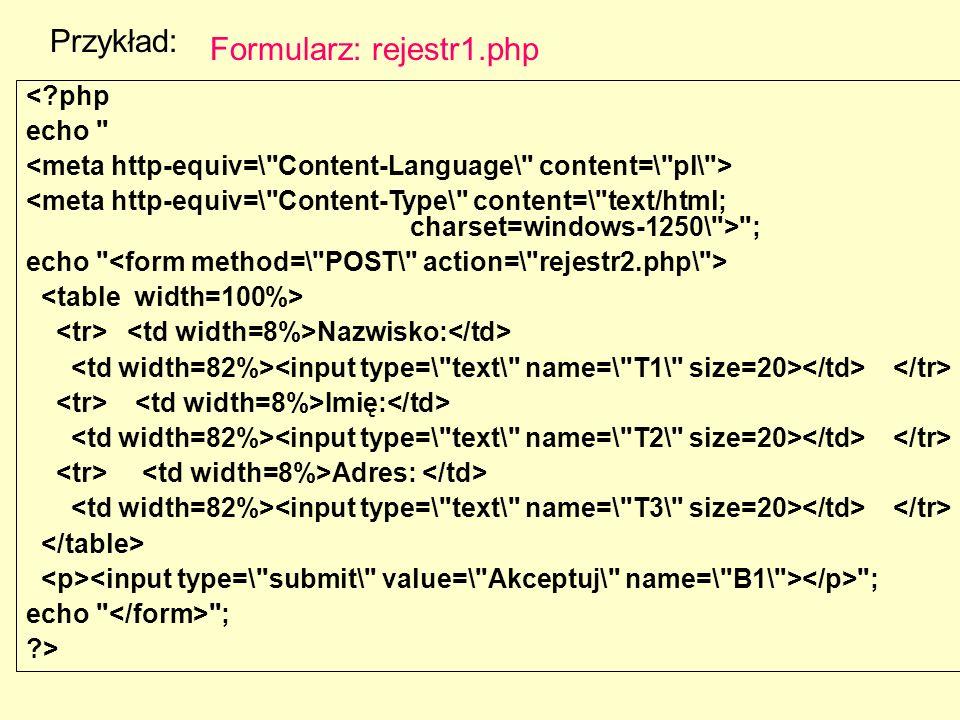 Formularz: rejestr1.php