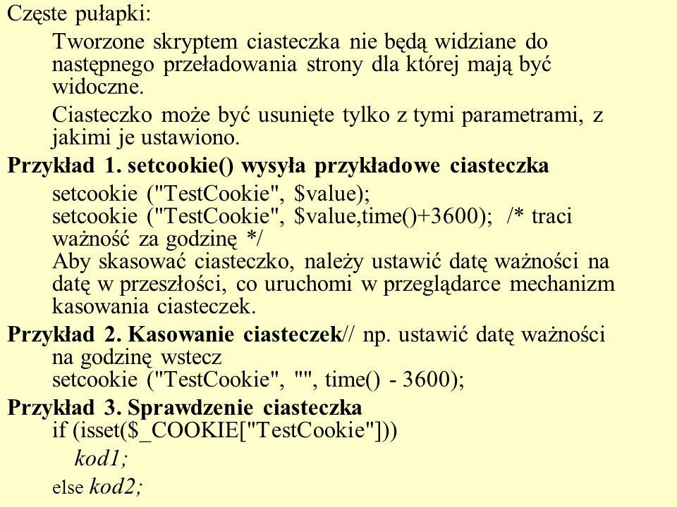 Przykład 1. setcookie() wysyła przykładowe ciasteczka