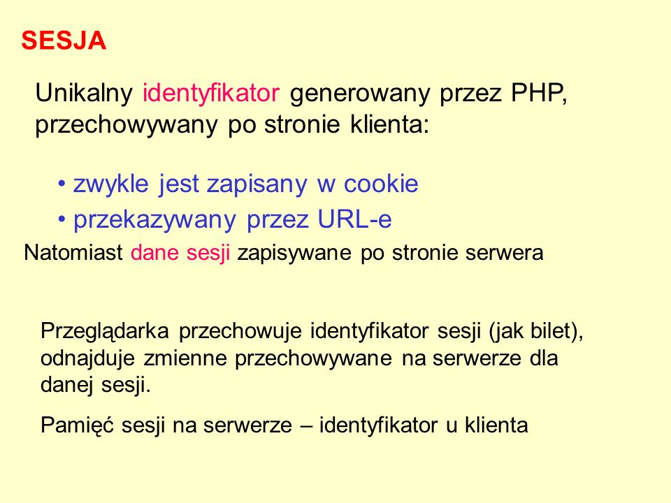 zwykle jest zapisany w cookie przekazywany przez URL-e
