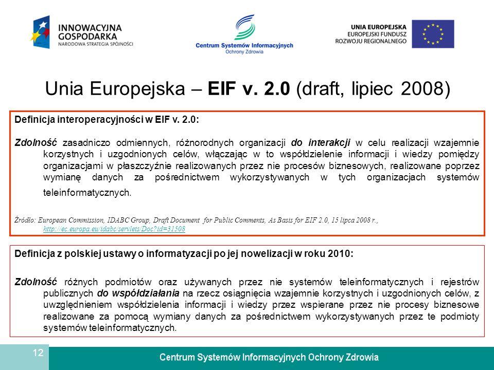 Unia Europejska – EIF v. 2.0 (draft, lipiec 2008)