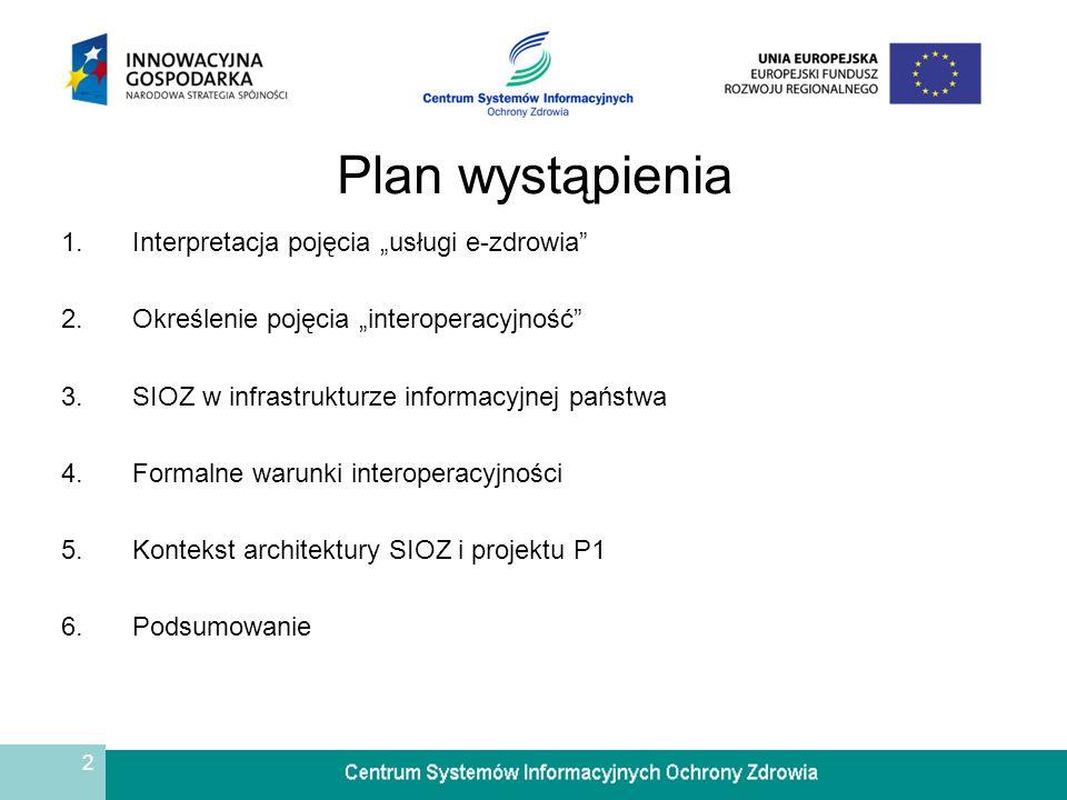 """Plan wystąpienia Interpretacja pojęcia """"usługi e-zdrowia"""