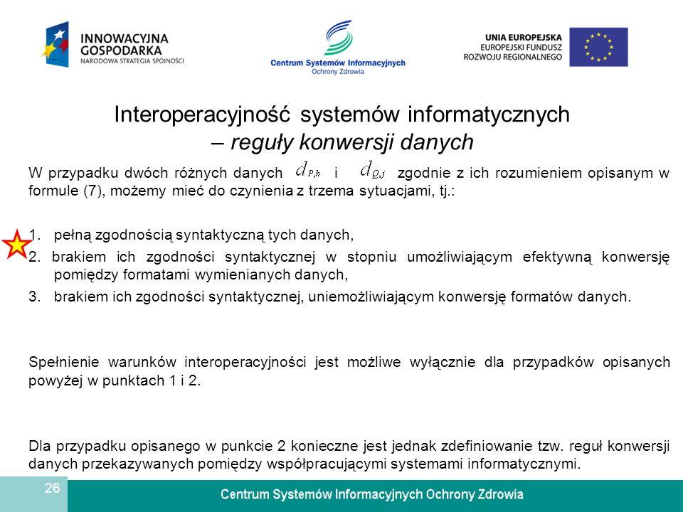 Interoperacyjność systemów informatycznych – reguły konwersji danych