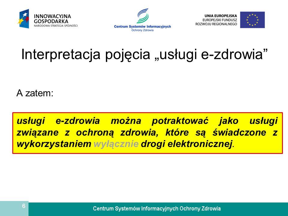"""Interpretacja pojęcia """"usługi e-zdrowia"""