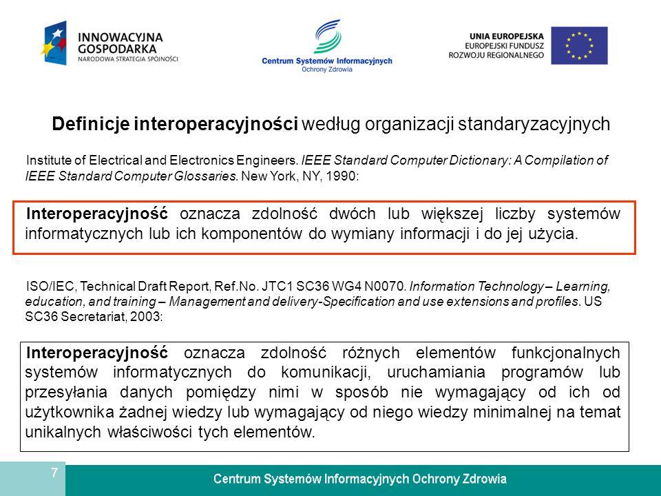 Definicje interoperacyjności według organizacji standaryzacyjnych