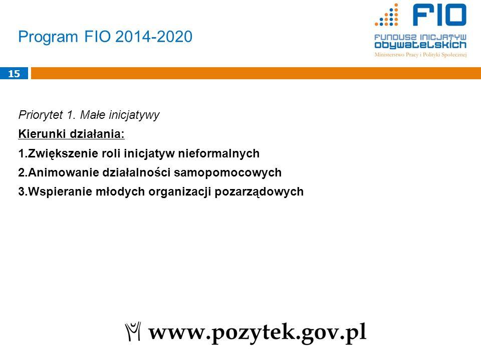 Program FIO 2014-2020 Priorytet 1. Małe inicjatywy Kierunki działania: