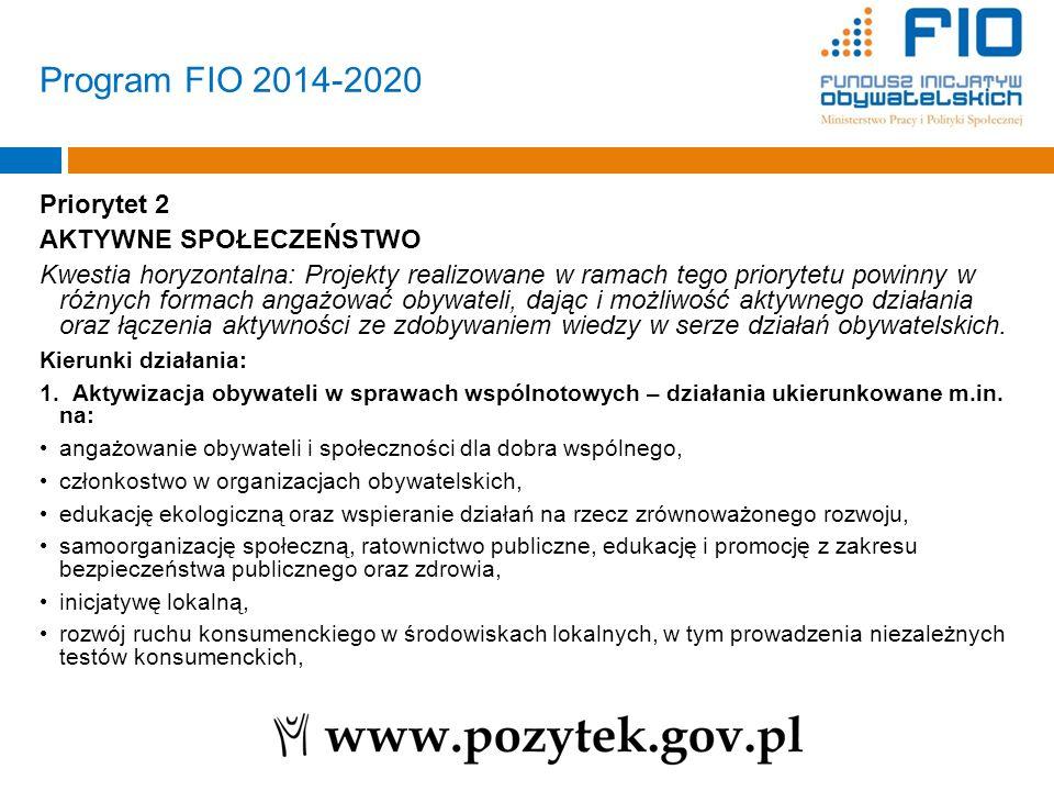 Program FIO 2014-2020 Priorytet 2 AKTYWNE SPOŁECZEŃSTWO