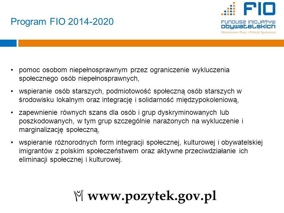 Program FIO 2014-2020 pomoc osobom niepełnosprawnym przez ograniczenie wykluczenia społecznego osób niepełnosprawnych,