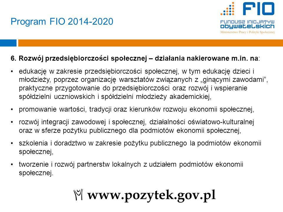 Program FIO 2014-2020 6. Rozwój przedsiębiorczości społecznej – działania nakierowane m.in. na: